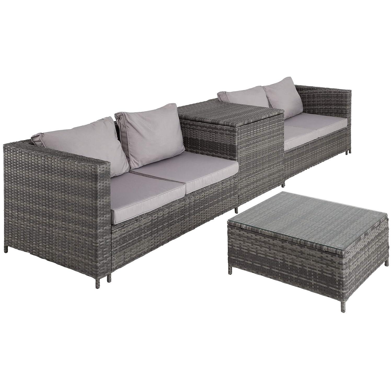 TecTake 800678 - Conjunto de Muebles de Jardín de Ratán, 2 Sofás 1 Mesa 1 Caja de Almacenamiento, Incluye Tornillos de Acero Inoxidable (Gris | No. ...