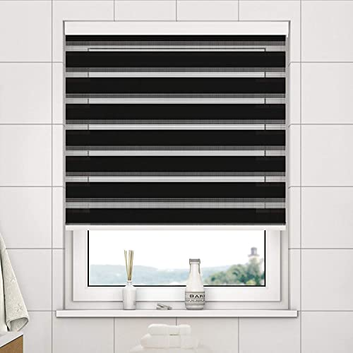 Best Panda Day and Night Zebra Roller Blind Double Fabric Translucent or Blackout Vision Curtains for Window and Door with Aluminium Punch-Black, 37.4 x 59