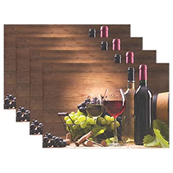 Wamika Dining Kitchen Decor Table Mat Placemat, Glasses Wine Grapes Wooden  Table Mats Placemats Non Slip Stain Heat Resistant 12x18x6 in for Indoor ...
