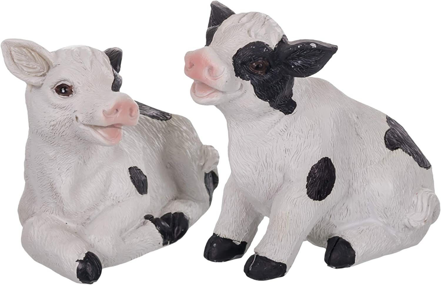 The Country House Lil Cows Holstein Spot 4 inch Resin Stone Collectible Figurines Set of 2
