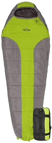 TETON Sports Tracker Ultralight Mummy Sleeping Bag Lightweight Backpacking Sleeping Bag for Hiking and Camping Outdoors All Season Mummy Bag Sleep Comfortably Anywhere Green Grey
