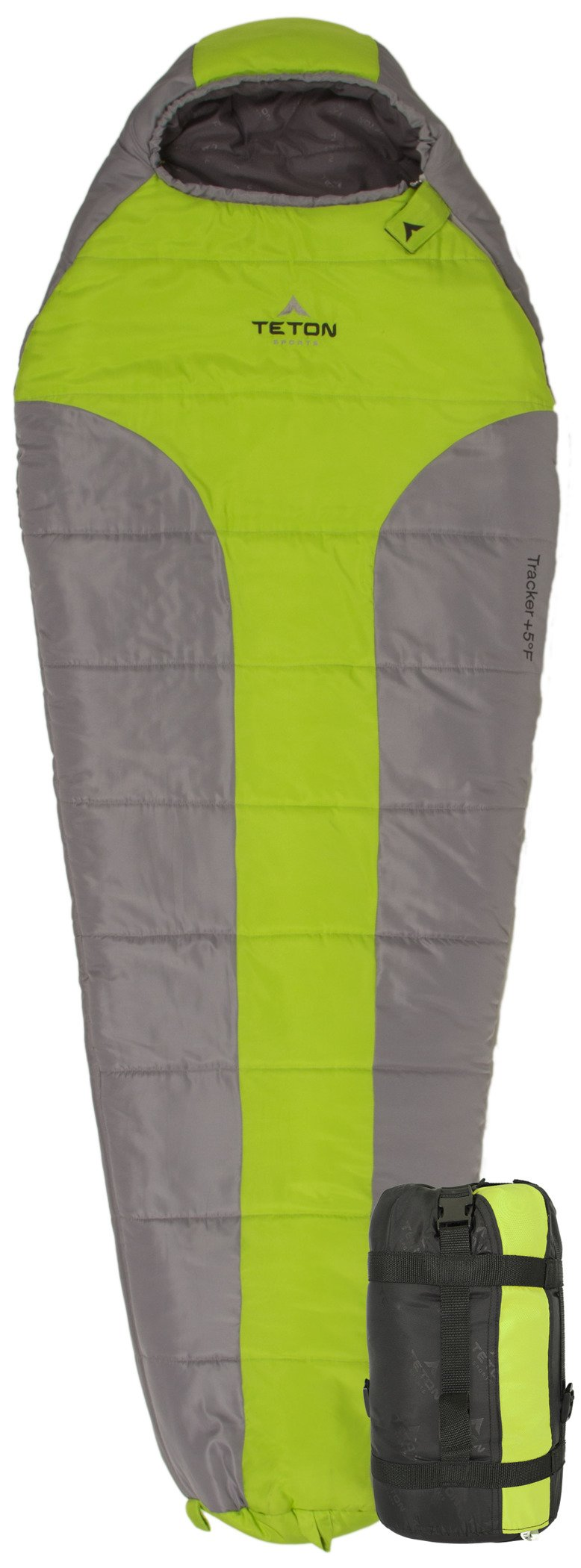 TETON Sports Tracker Ultralight Mummy Sleeping Bag; Lightweight Backpacking Sleeping Bag for Hiking and Camping Outdoors; All Season Mummy Bag; Sleep Comfortably Anywhere; Green/Grey