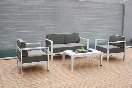 talfa Salon de Jardin en Aluminium Toledo - Blanc: Amazon.fr: Jardin