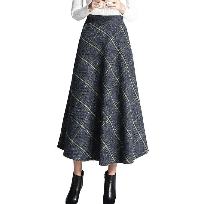 design raffinato molti alla moda design senza tempo AINIMI Gonna Lunga Di Lana Vintage Lattice Per Donna Elegante ...