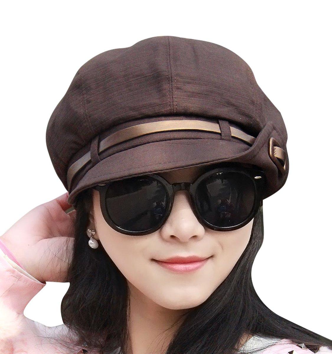 Clecibor Half Roll-up Edge Stylish newsboy Cap Adjustable Soft Cotton Octagonal Cap, Dark Coffee