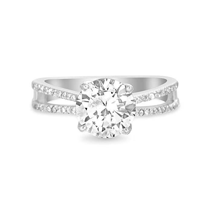 79dfb6ffe Devin Rose Round Four Prong Split Shank Engagement Wedding Ring for Women  made with Swarovski Crystal in 925 Sterling Silver (Size 7) | Amazon.com