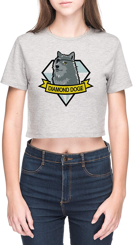 Vendax Diamond Doge Camiseta de Crop Mujer Gris: Amazon.es: Ropa y accesorios