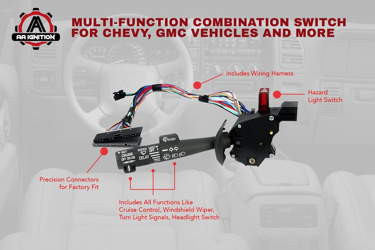 Multi Function Combination Switch Turn Signal Wiper 1996 Freightliner Headlight Dimmer Wiring Diagram Washers Hazard Cruise Control Replaces Part 2330814 26100985 26036312
