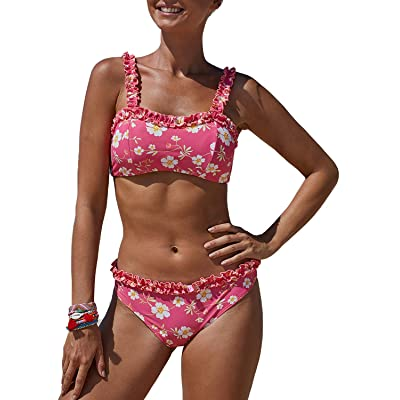 Bdcoco Women's Two Pieces Bandeau Swimsuits Wide Straps Floral Print Bathing Suits: Clothing