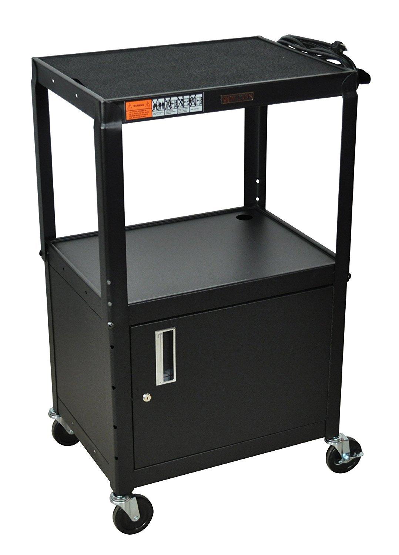 H WILSON W42ACE Adjustable Height Cabinet AV Cart, Black by H Wilson