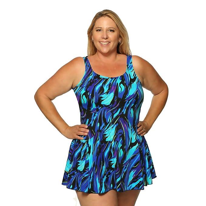 67a9487d08c Image Unavailable. Image not available for. Color  Women s Long Plus Size  Swim-Dress ...