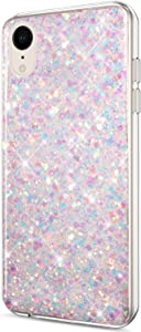 ikasus Case for iPhone XR Case Glitter Bling Crystal Sparkly Shiny Bling Powder 3D Diamond Paillette Slim Glitter Flexible Soft Rubber Gel TPU Protective Case Cover for iPhone XR,Purple