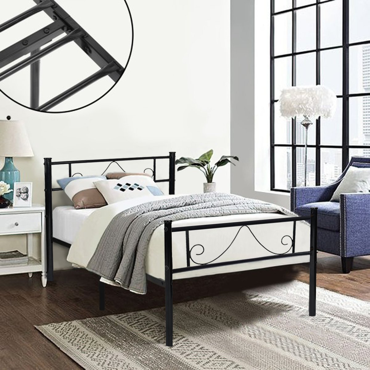 GreenForest Twin Bed Frame Metal Platform with Stable Metal Slats Stable Headboard and Footboard/Black,Twin by GreenForest