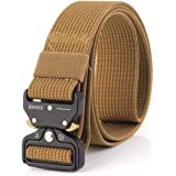 """Men Tactical Belt 1.57"""" Heavy Duty Belt, Quick-Release Military Style Shooters Nylon Belts with Metal Buckle (49 inches(125 CM), Khaki)"""