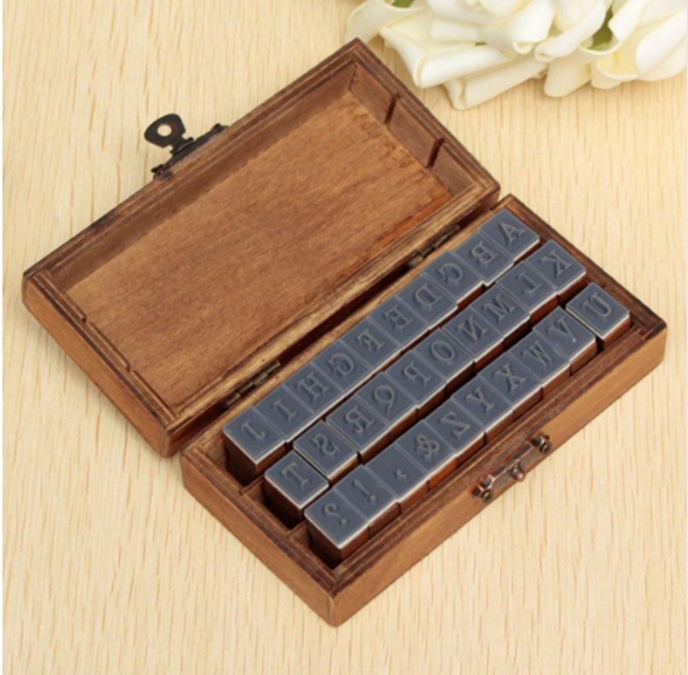 Angelwing Alphabet Stamp Rubber Set Romantic Design Capital Letter Retro Vintage Wooden Craft Box 30pcs