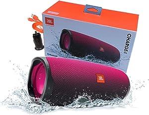 JBL Charge 4 Waterproof Portable Bluetooth Speaker (Magenta) Retail Packing - W/Car Charger (Renewed)