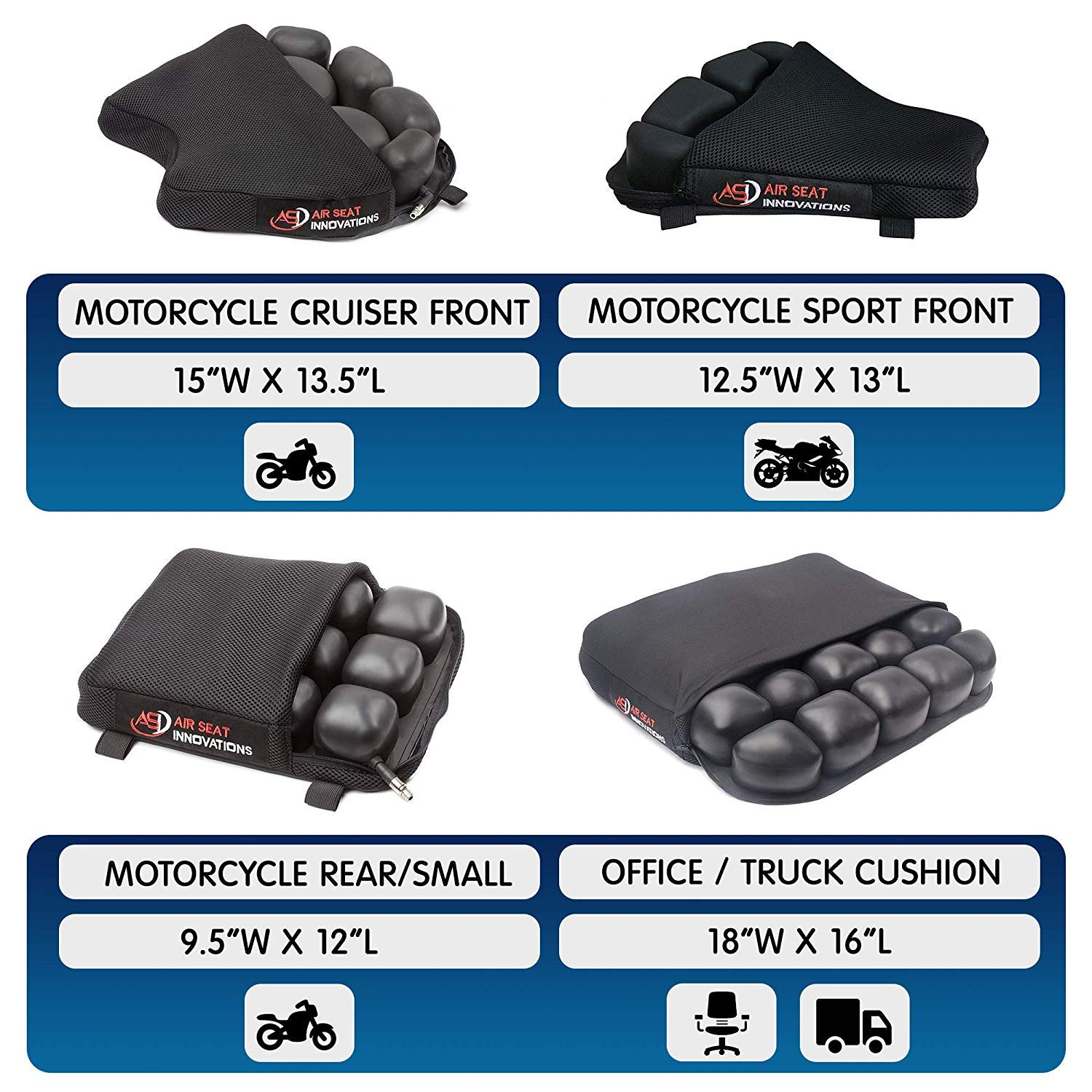 Truck Driver Seat Cushion For Lower Back Pain Relief Sciatica Coccyx Air Comfort Pad Office / Auto / Wheelchair / Trucker / Tractor / Construction 18''x16'' by Air Seat Innovations (Image #1)