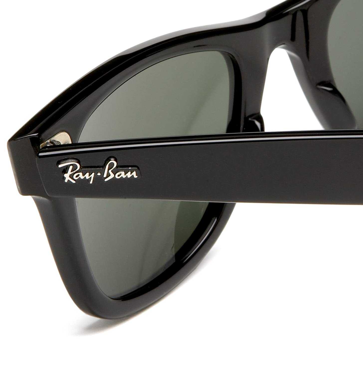 ray ban wayfarer original black  Amazon.com: Ray-Ban WAYFARER - BLACK Frame CRYSTAL GREEN Lenses ...