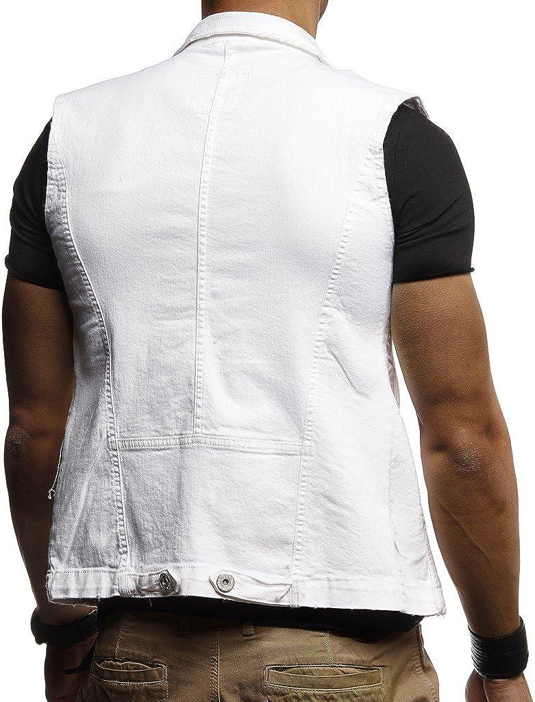 Leif Nelson Gilet Jeans da Uomo Giacca Senza Maniche LN-9300
