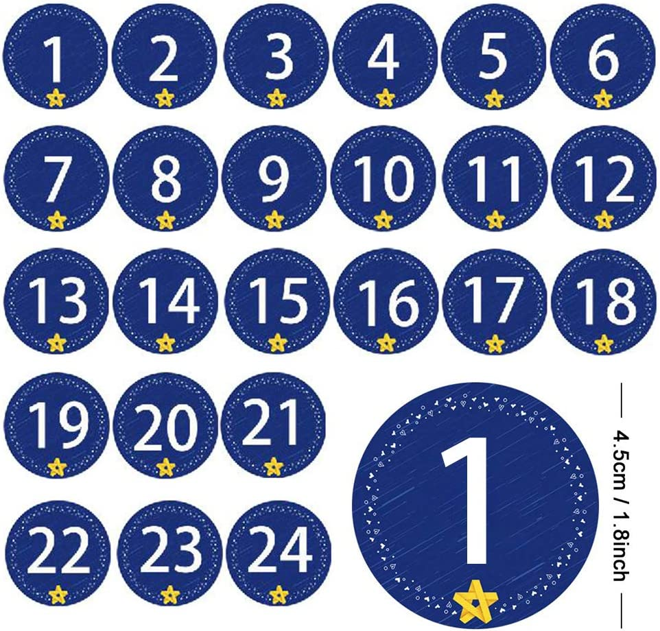 LQMILK Bolso con Cord/ón De Arpillera Bolsas De Regalo Bolsas De Regalos De Joyer/ía 24 Pcs 24 Sacos De Yute De Color Cord/ón con 1-24 Calendarios De N/úmeros De Adviento 2019 Pegatinas//Clips//Cuerda