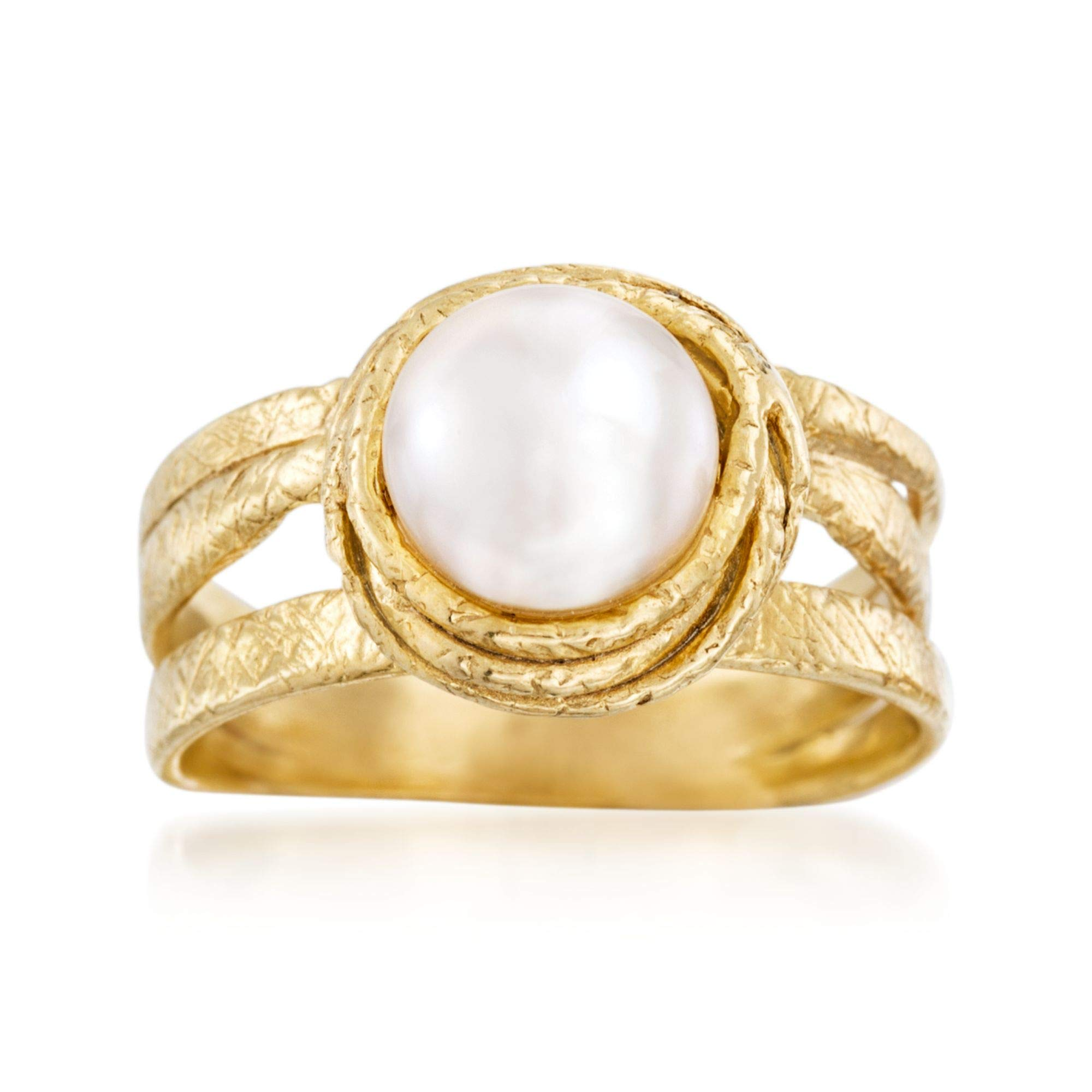 Ross-Simons 7-8mm Cultured Pearl Ring in 18kt Gold Over Sterling
