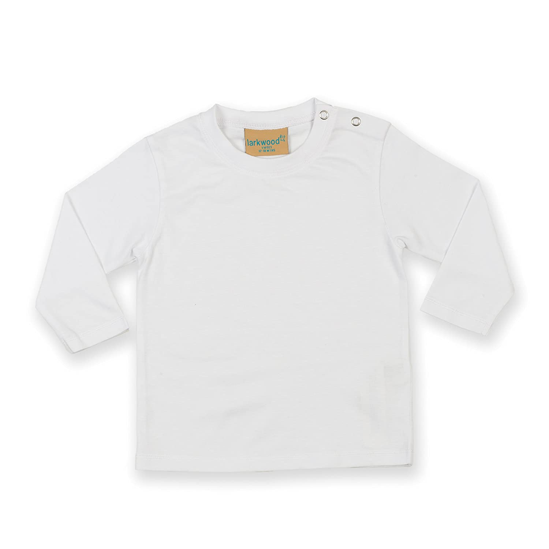 Larkwood Babies Long Sleeve Cotton T Shirt White 18-24