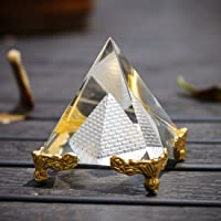 "H&D Pyramid Prism 2.4""- Meditation Crystals Home Art Decor Feng Shui for Prosperity Positive Energy with Gold Stand…"