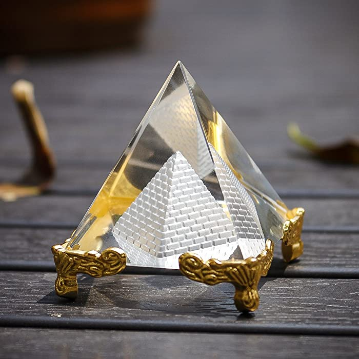 """H&D Pyramid Prism 2.4""""- Meditation Crystals Home Art Decor Feng Shui for Prosperity Positive Energy with Gold Stand(Style-5)"""