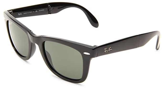 22e89fef01639 Ray-Ban FOLDING WAYFARER - BLACK Frame CRYSTAL GREEN POLARIZED Lenses 50mm  Polarized
