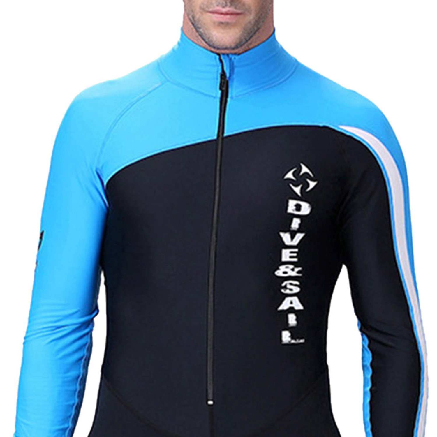 Men's UV Protection Wetsuits Zipper Snorkeling Lycra Skin Diving Surfing Suit Swimwear for Spring Summer Autumn XL - Blue by DIVE & SAIL (Image #2)