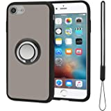 takyu Phone Case for iPhone 6 7 8 SE, Hard Cell Phone Case with Detachable Silicone Wrist Lanyard, Metal Phone Ring Grip Hold