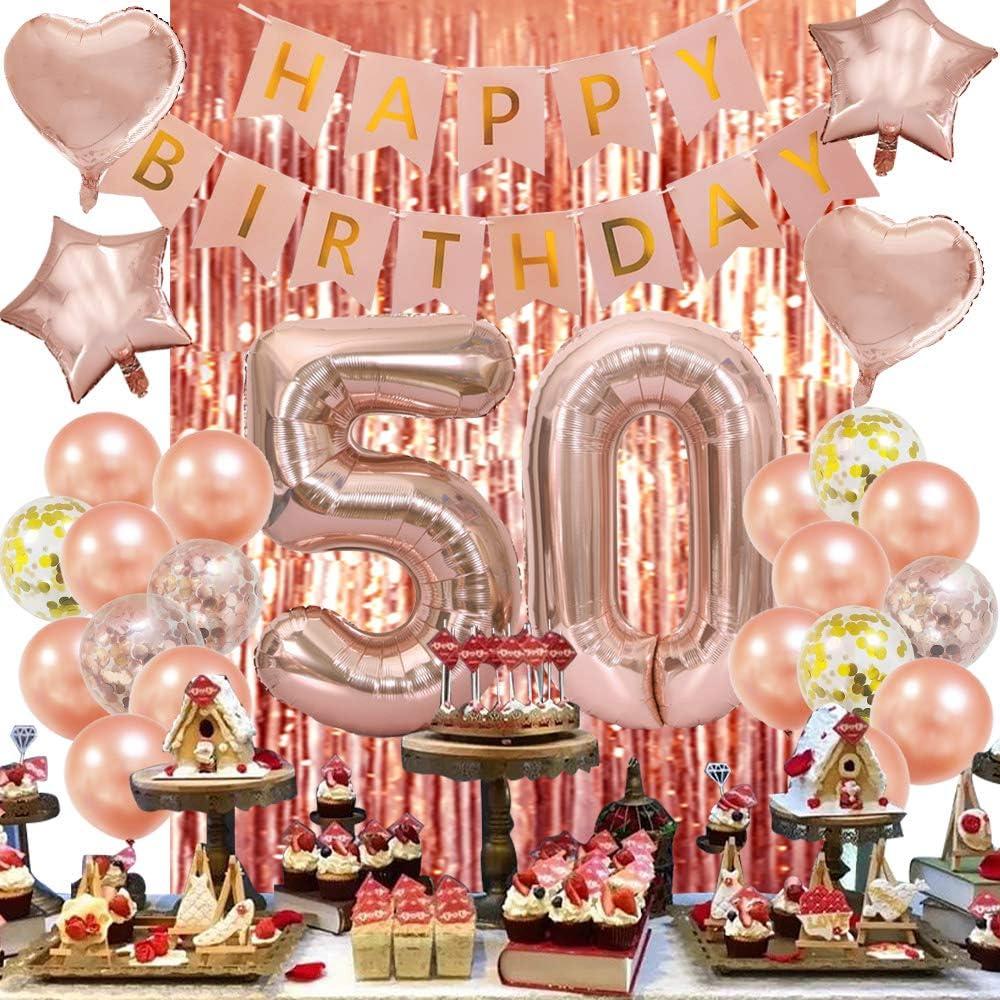 Rose Gold 50th Birthday Decorations-Happy 50th Birthday Decorations 50 Party Decorations for Women Men