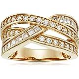 Yellow Gold or Platinum-Plated Sterling Silver Swarovski Zirconia Interlocking Band Ring, Size 6