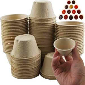 LeonBach 100 Pack 2oz Natural Bagasse Fiber Cups, Tasting Cups Paper Condiment Cups Serving Cup Compostable Sample Cups Disposable Sauce Dishes