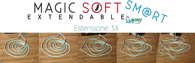Il Tubo Estensibile da Giardino Che Si estende Fino a 3 Volte la Sua Lunghezza Iniziale Made in Italy Idroeasy Magic Soft Smart 15 Metri 15 Metri