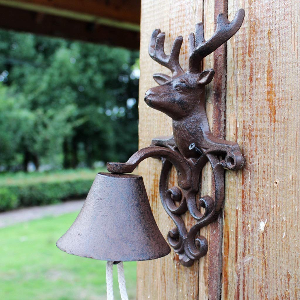 LBYMYB Cast Iron Doorbell Retro Manor Wind Chime Wall Hanging Frame Decoration Pendant Crafts 13.6x14x24.2cm doorbell