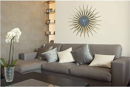Metal Art Studio Atomic Era Maple Grey Blue Decorative Wall Clock, Large,