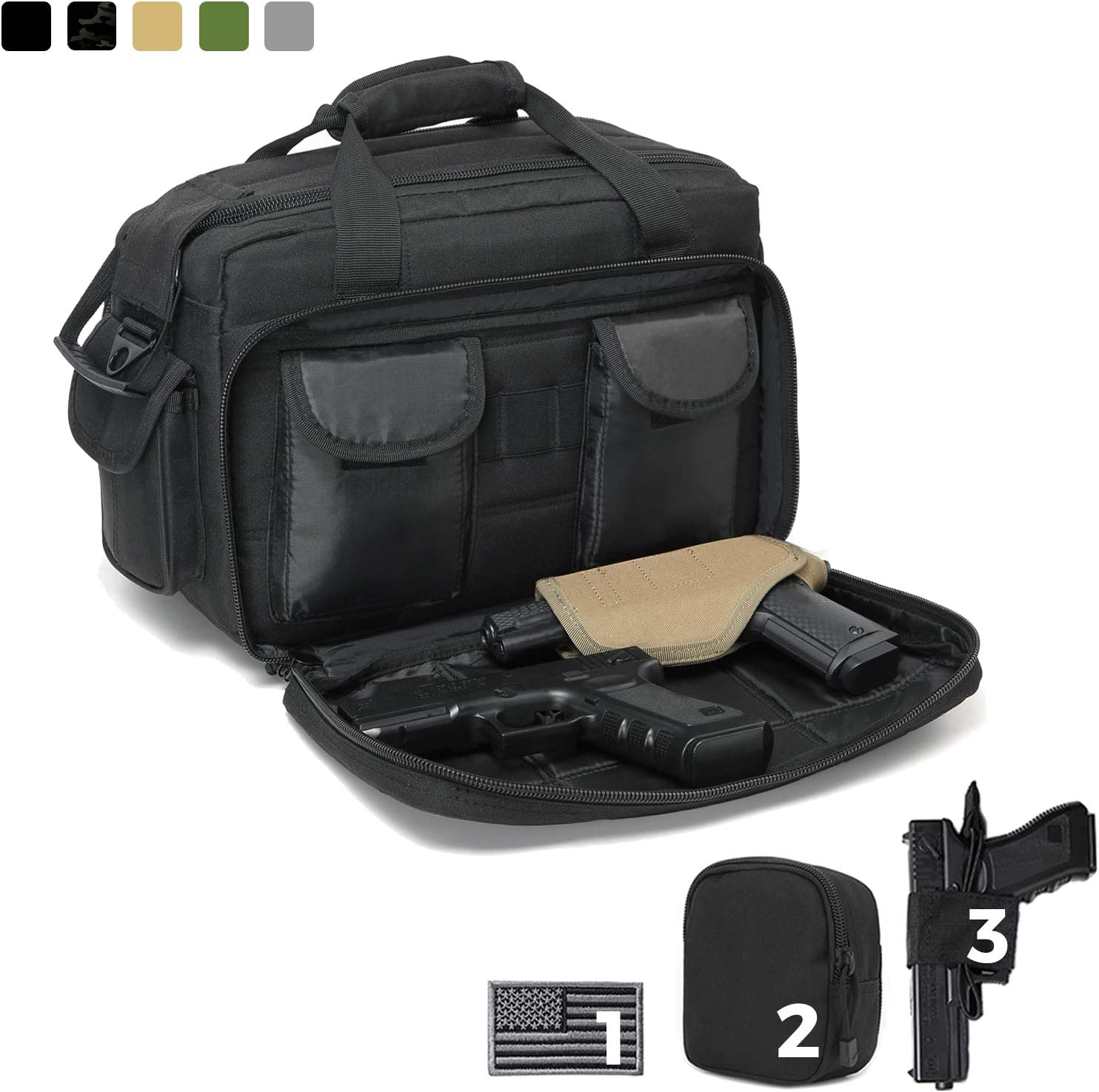 DBTAC Gun Range Bags Deluxe Middle Size | Tactical 2~4 Pistol Shooting Range Duffle Bag with Lockable Zipper for Handguns and Ammo