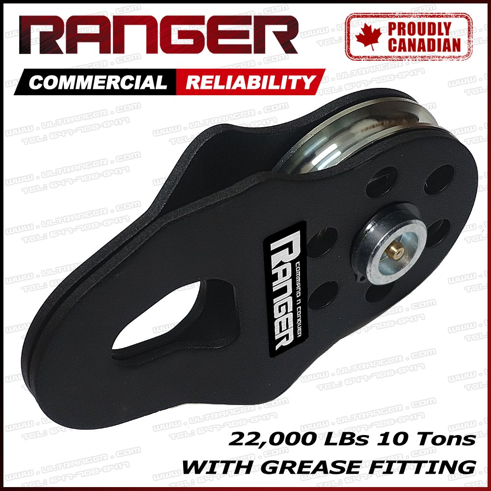 Ranger Commercial Reliability Snatch Block with Grease Fitting by Ultranger (10 Tons 22, 000 LBs)
