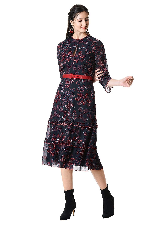1930s Dresses | 30s Art Deco Dress eShakti Womens Ruffle Tier Floral Print Georgette Belted Dress $94.95 AT vintagedancer.com