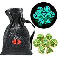 Haxtec Glow in The Dark Glowing Blue Metal Dice Set D&D W/ Dragon Dice Bag 7PCS DND Dice Set for Dungeons and Dragons RPG Games-Gold Glowing Blue-V2