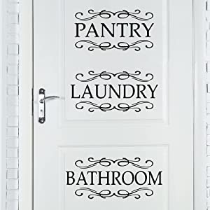 3 Pieces Laundry Room Vinyl Wall Stickers Pantry Vinyl Wall Decal Bedroom Wall Decals Stickers Laundry Pantry Bedroom Door Decal Art Signs Wall Quote Sticker for Room Decoration Supplies