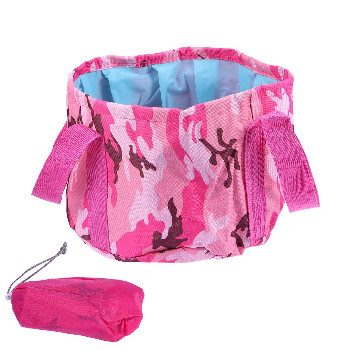 OUNONA 15L Faltbar Eimer Falteimer Wassereimer mit Griff fü r Auto Outdoor Wandern Reisen Angeln Camping (Camouflage Pink)