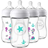 Philips Avent Natural Baby Bottle, Clear with Seahorse design, 9 Oz, 4 Pack, SCF659/47