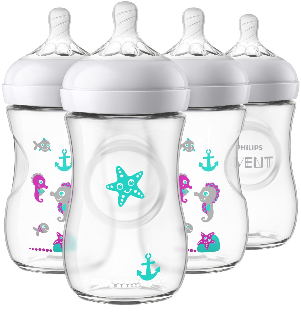 Philips Avent Natural Baby Bottle with Seahorse design, 9oz, 4pk, SCF659/47 075020068569