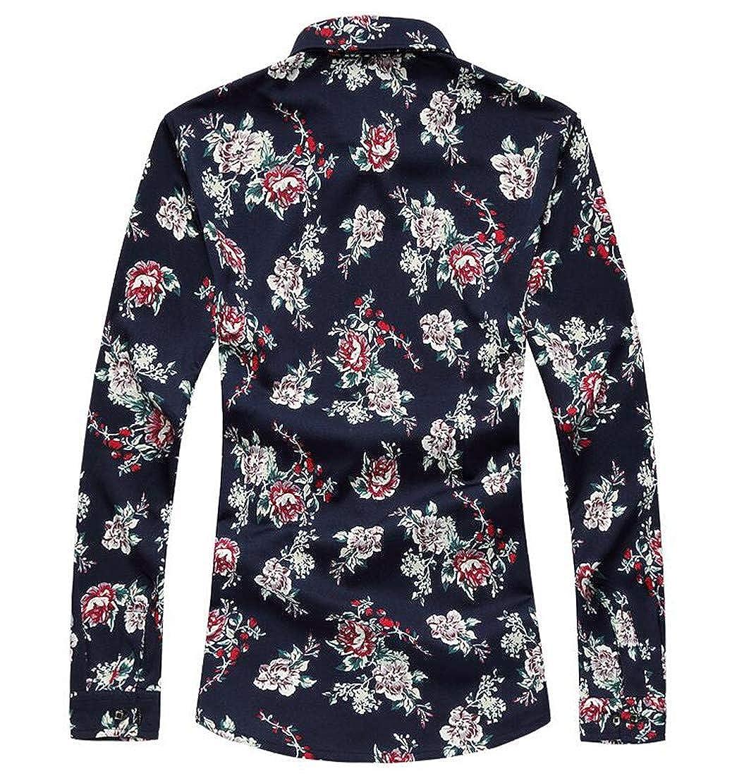 Macondoo Mens Print Classic Slim Button-Down Long Sleeve Top Shirts