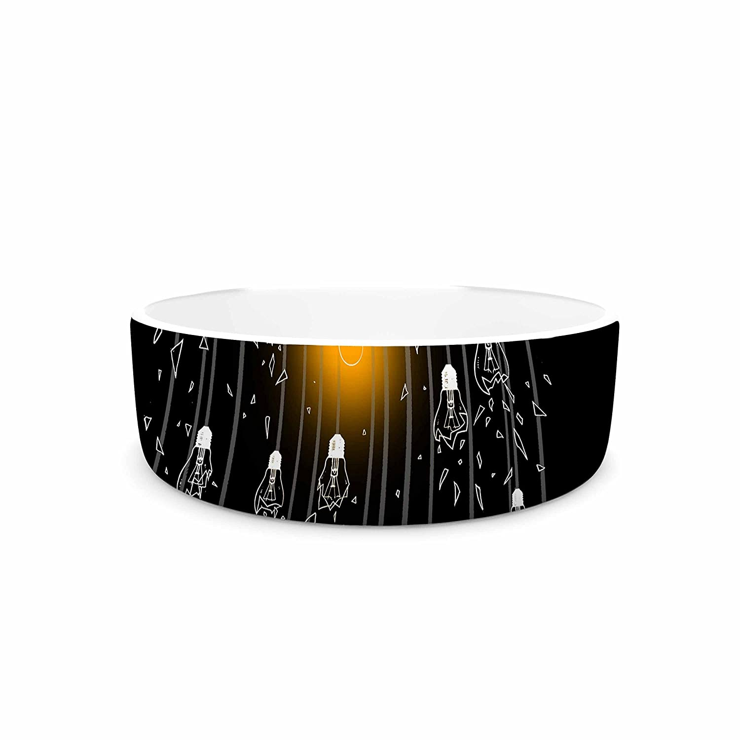 KESS InHouse BarmalisiRTB One Light Black White Digital Pet Bowl, 7  Diameter