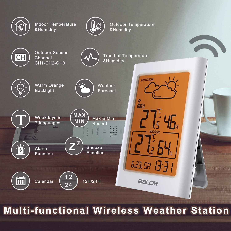 Wei/ß-WL Uhrzeitanzeige Digital Thermometer Hygrometer Innen und Au/ßen Raumthermometer Hydrometer Feuchtigkeit mit Wettervorhersage TEKFUN Wetterstation Funk mit Au/ßensensor Wecker und Nachtlicht