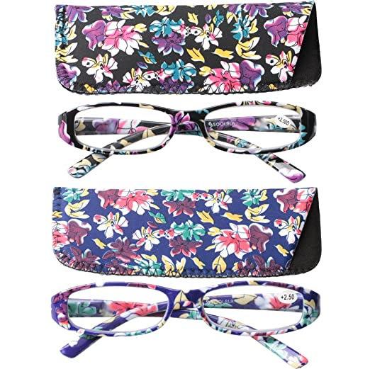 632b7add057 SOOLALA 2-Pair Fashionable Spring Hinge Rectangular Reading Glasses w  Matching Pouch (2