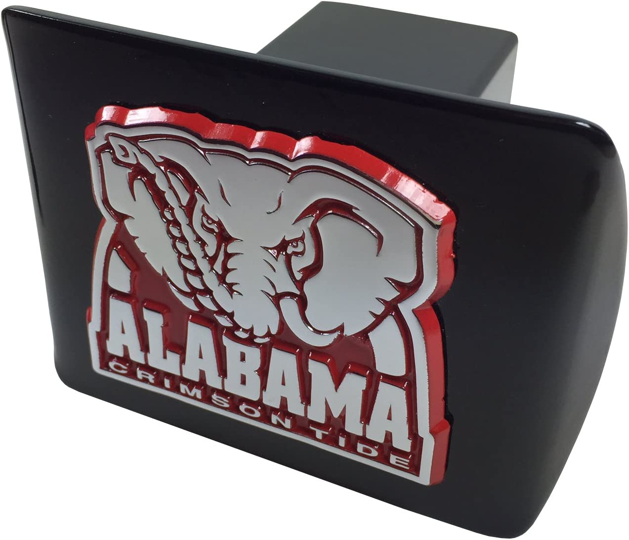 on Black Metal Hitch Cover Chrome with Crimson Trim AMG University of Alabama Metal Emblem